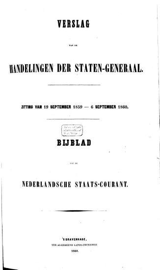 Verslag der Handelingen van de Tweede Kamer der Staten Generaal PDF