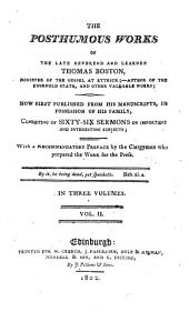 The posthumous works of ... Thomas Boston