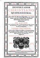 Despertador christiano quadragessimal de sermones doctrinales para todos los dias de la Quaresma     PDF