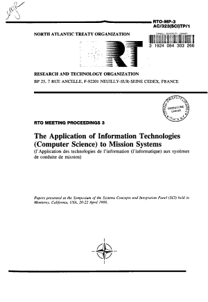 The Application of Information Technologies  computer Science  to Mission Systems PDF