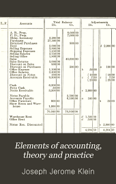 Elements of Accounting, Theory and Practice