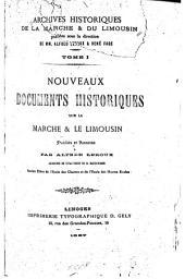 Nouveaux documents historiques sur la Marche et le Limousin