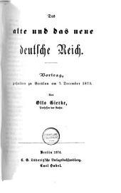 Das Alte und das neue deutsche Reich