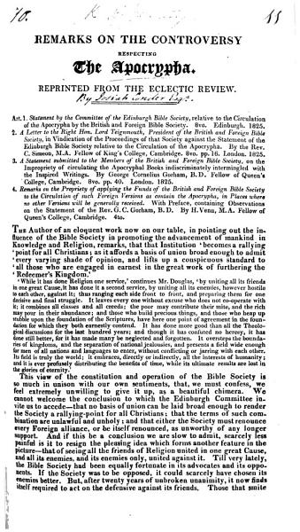 Remarks On The Controversy Respecting The Apocrypha By Josiah Conder Reprinted From The Eclectic Review September 1825