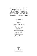 Dictionary of Seventeenth and Eighteenth Century Dutch Philosophers PDF