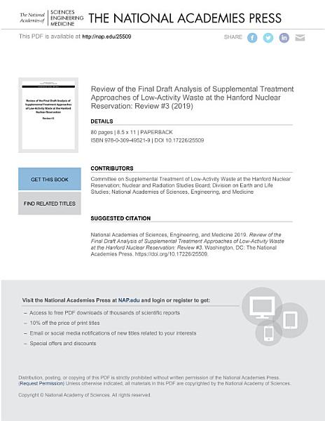 Review of the Final Draft Analysis of Supplemental Treatment Approaches of Low Activity Waste at the Hanford Nuclear Reservation