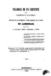 Palabras de un creyente á los gobiernos y al pueblo, ó, Refutacion de los pensamientos y planes socialistas de la escuela de Lamennais