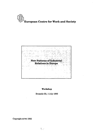 New Patterns of Industrial Relations in Europe PDF