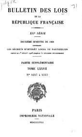Bulletin des lois de la République française: Volume77,Numéros4257à4286