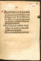 Apologetica declaratio in libellum suum de integritate