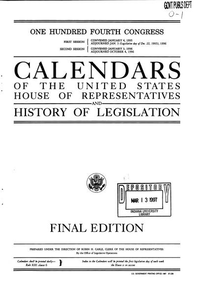 Download Calendars of the United States House of Representatives and History of Legislation Book