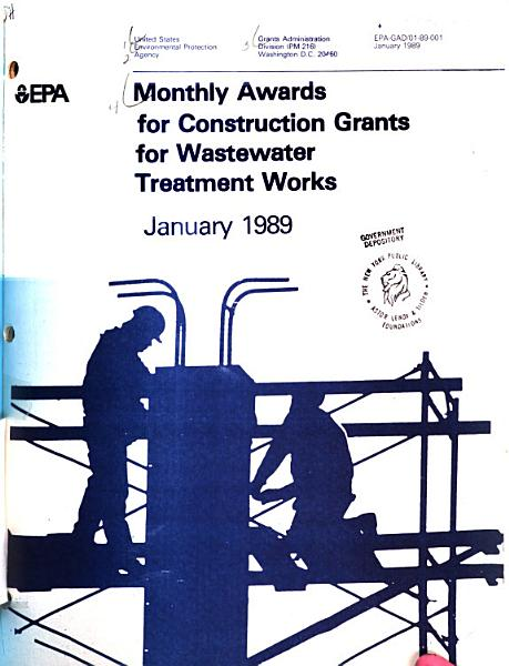 Download Monthly Awards for Construction Grants for Wastewater Treatment Works Book