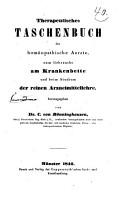Therapeutisches Taschenbuch f  r hom  opathische Aerzte  zum Gebrauche am Krankenbette und beim Studium der reinen Arzneimittellehre PDF