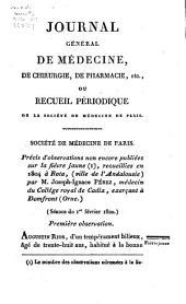Journal général de médecine, de chirurgie et de pharmacie franc̜aises et étrangeres, ou, Recueil périodique de la Société de médecine de Paris: Volume71