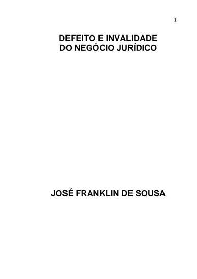Defeito E Invalidade Do Neg  cio Jur  dico PDF