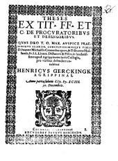 Theses ex tit. FF. et C. de procuratoribus et defensoribus