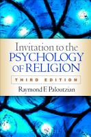 Invitation to the Psychology of Religion  Third Edition PDF