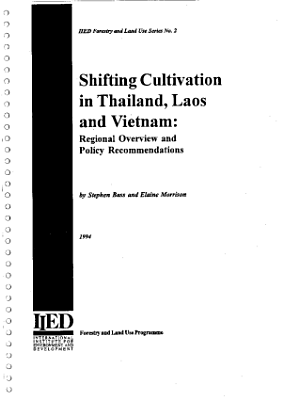 Shifting Cultivation in Thailand  Laos and Vietnam PDF