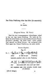 Papyrus Prisse: ¬Der Prinz Ptahhotep über das Alter (de senectute)