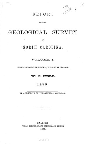 Report of the Geological Survey of North Carolina