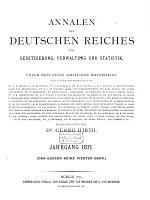 Annalen des deutschen Reichs f  r Gesetzgebung  Verwaltung und Statistik PDF