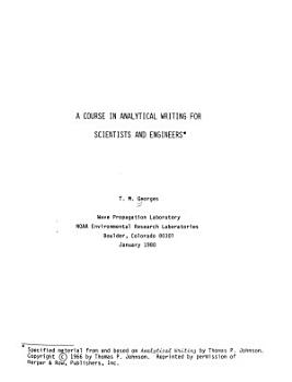 A Course in Analytical Writing for Scientists and Engineers PDF