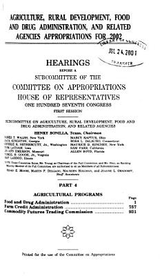 Agriculture  Rural Development  Food and Drug Administration  and Related Agencies Appropriations for 2002  Agricultural programs PDF