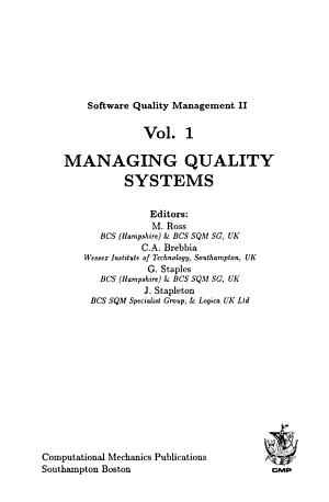 Software quality management II.
