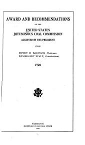 Award and Recommendations of the United States Bituminous Coal Commission