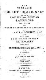 Neues Vollständiges Taschenwörterbuch Der Englischen und Deutschen Sprache