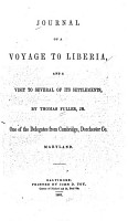 Journal of a Voyage to Liberia PDF