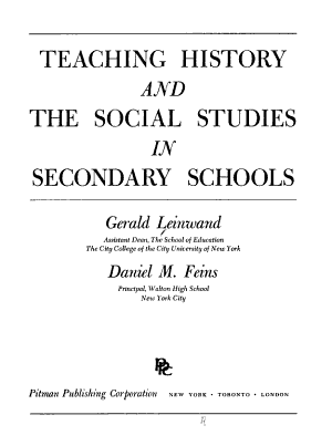 Teaching History and the Social Studies in Secondary Schools PDF