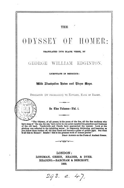 Download The Odyssey  tr  into blank verse by G W  Edginton Book