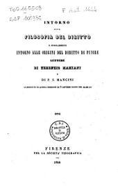 Intorno alla filosofia del diritto e singolarmente intorno alle origini del diritto di punire: lettere