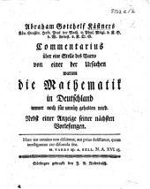 Commentarius über eine Stelle des Varro. Von einer der Ursachen warum die Mathematik in Deutschland immer noch für unnütz gehalten wird