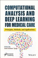Computational Analysis and Deep Learning for Medical Care PDF