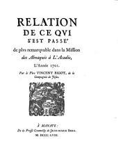 Relation de ce qui s'est passé de plus remarquable dans la Mission des Abnaquis à l'Acadie, l'année 1701