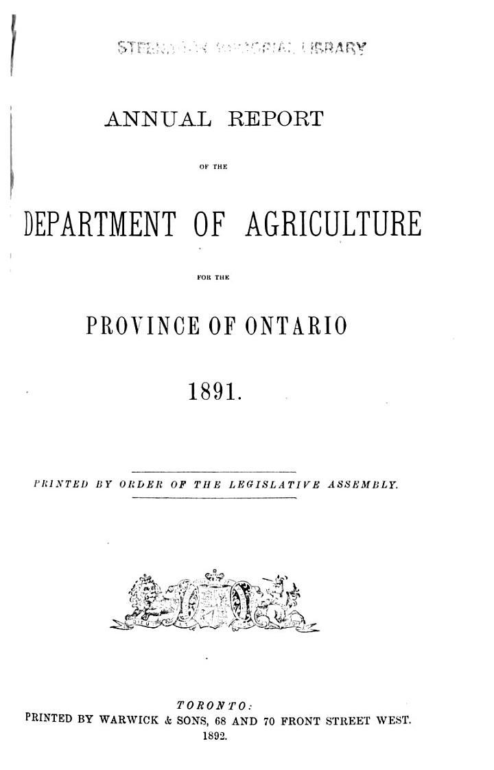 Ontario. Canada. Department of Agriculture. Annual Report