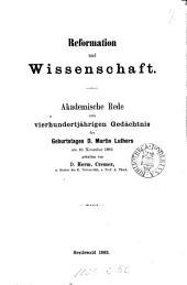 Reformation und Wissenschaft, Rede