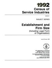 1992 census of service industries: Subject series. Establishment and firm size (including legal form of organization).