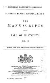 The Manuscripts of the Earl of Dartmouth: Part 3
