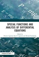 Special Functions and Analysis of Differential Equations PDF