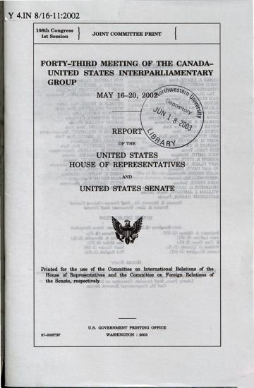 Meeting of the Canada United States Interparliamentary Group PDF