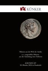 Künker Auktion 257 - Münzen aus der Welt der Antike: u. a. ausgewählte Münzen aus der Sammlung eines Ästheten