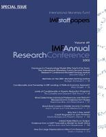 IMF Staff Papers  Volume 49  2002  Special Issue  IMF Annual Research Conference PDF