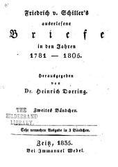 Friedrich v. Schillers auserlesene briefe in den jahren 1781-1805; hrsg: Band 2
