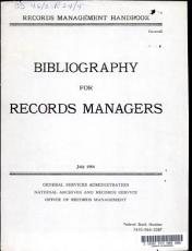 Records Management Handbook  General  Bibliography for Records Managers PDF