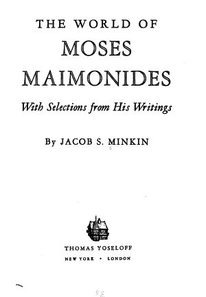 The World of Moses Maimonides