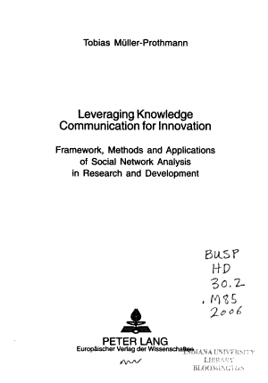 Leveraging Knowledge Communication for Innovation PDF