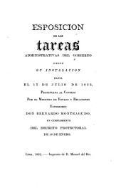 Esposición de las tareas administrativas del gobierno desde su instalación hasta el 15 de julio de 1822